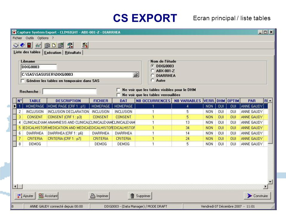 CS EXPORT Ecran principal / liste tables