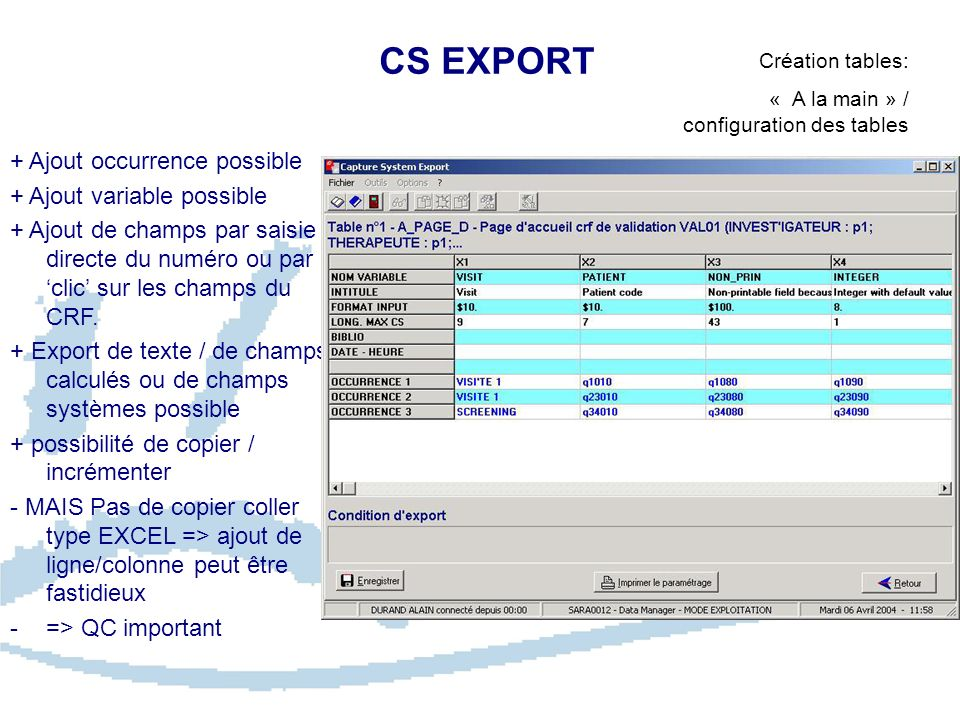 CS EXPORT + Ajout occurrence possible + Ajout variable possible