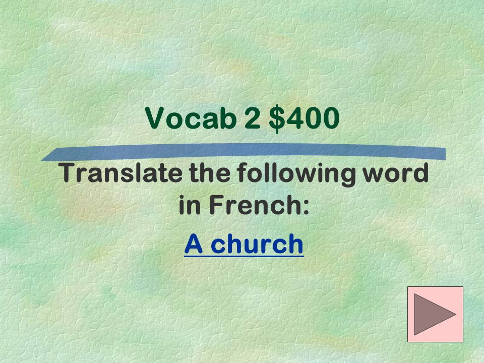 Translate the following word in French: A church