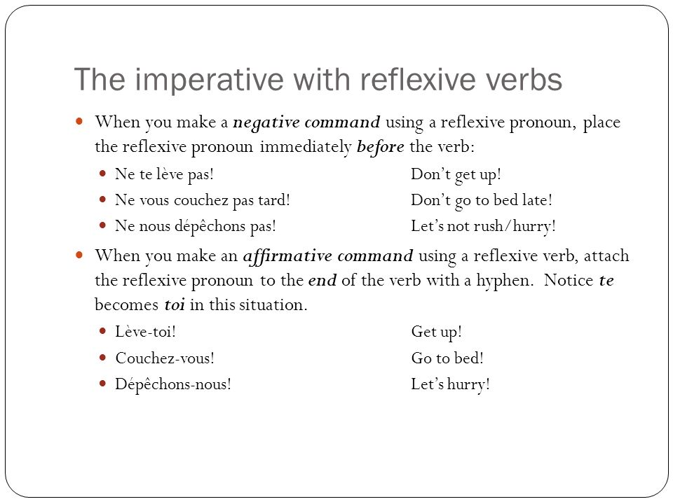 The imperative with reflexive verbs