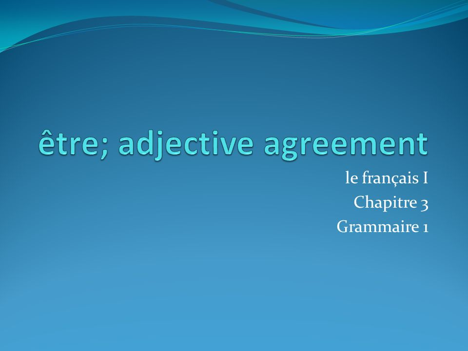 être; adjective agreement
