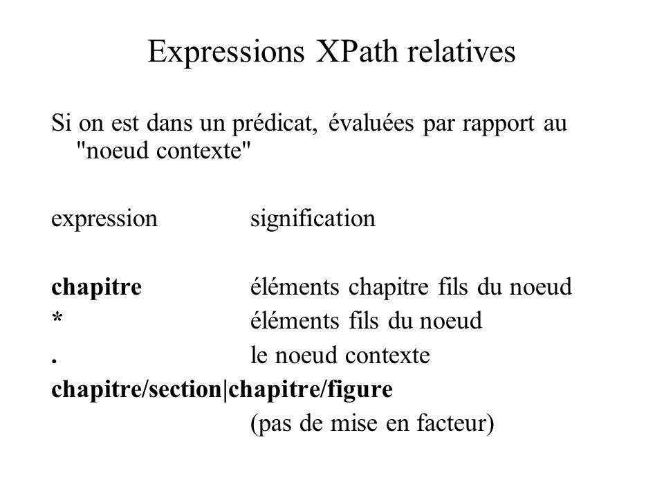 Expressions XPath relatives