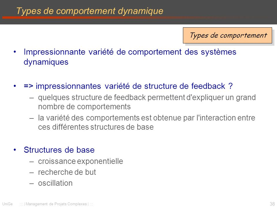 Types de comportement dynamique