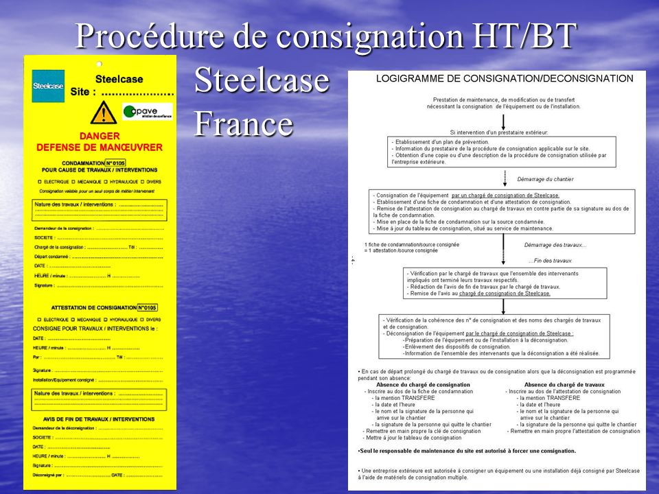 Procédure de consignation HT/BT Steelcase France