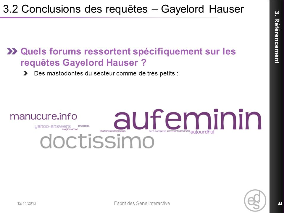 3.2 Conclusions des requêtes – Gayelord Hauser