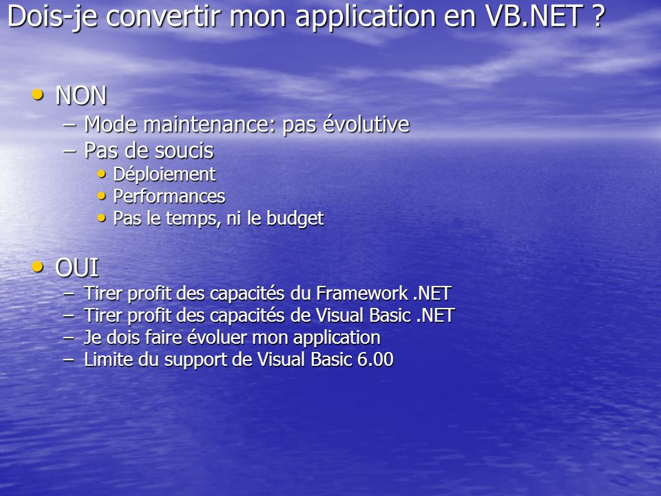 Dois-je convertir mon application en VB.NET