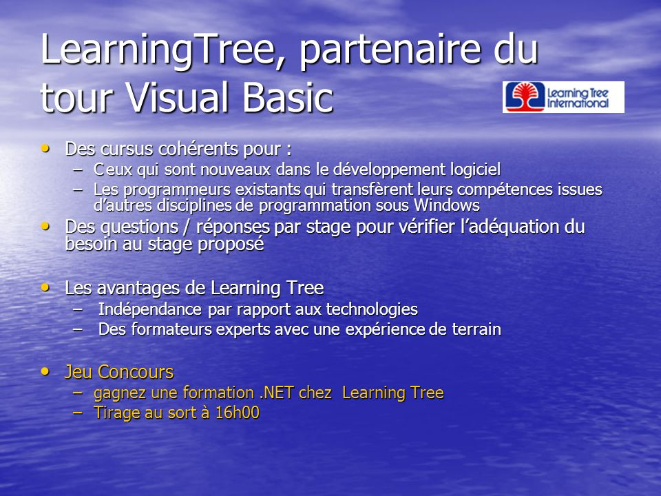 LearningTree, partenaire du tour Visual Basic