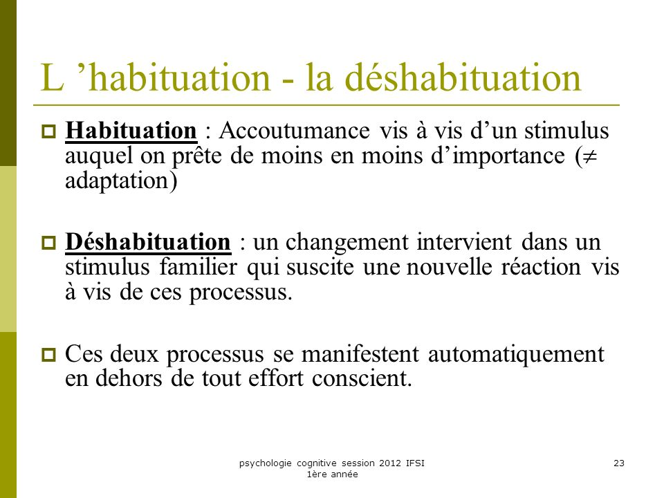 L 'habituation - la déshabituation