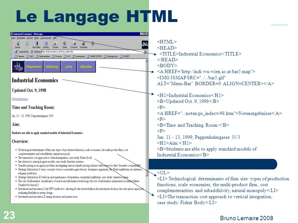 Le Langage HTML Bruno Lemaire 2008 2 <HTML> <HEAD>