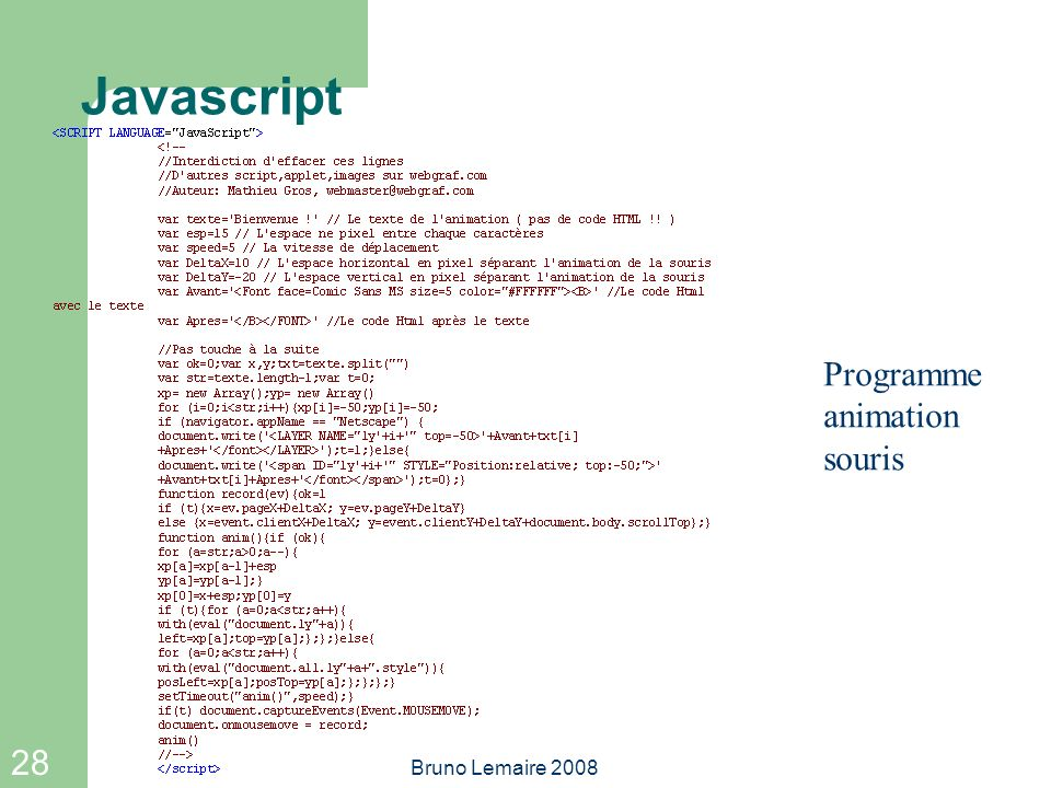 Javascript Programme animation souris Bruno Lemaire 2008