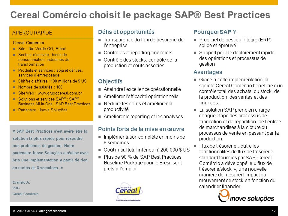 Cereal Comércio choisit le package SAP® Best Practices