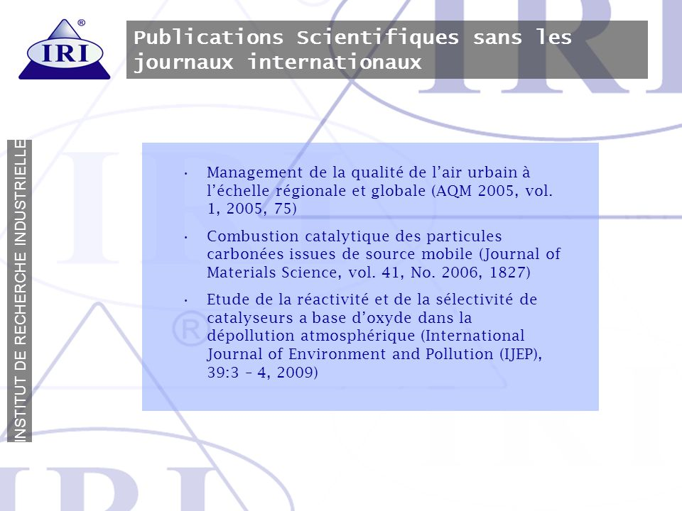 Publications Scientifiques sans les journaux internationaux