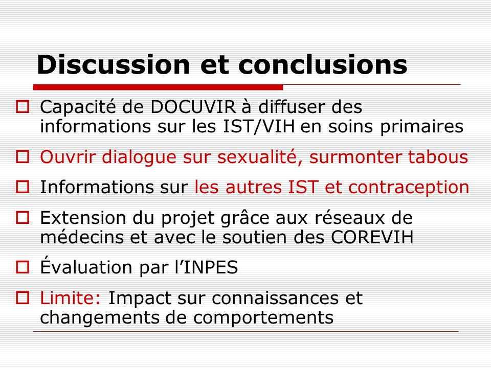 Discussion et conclusions