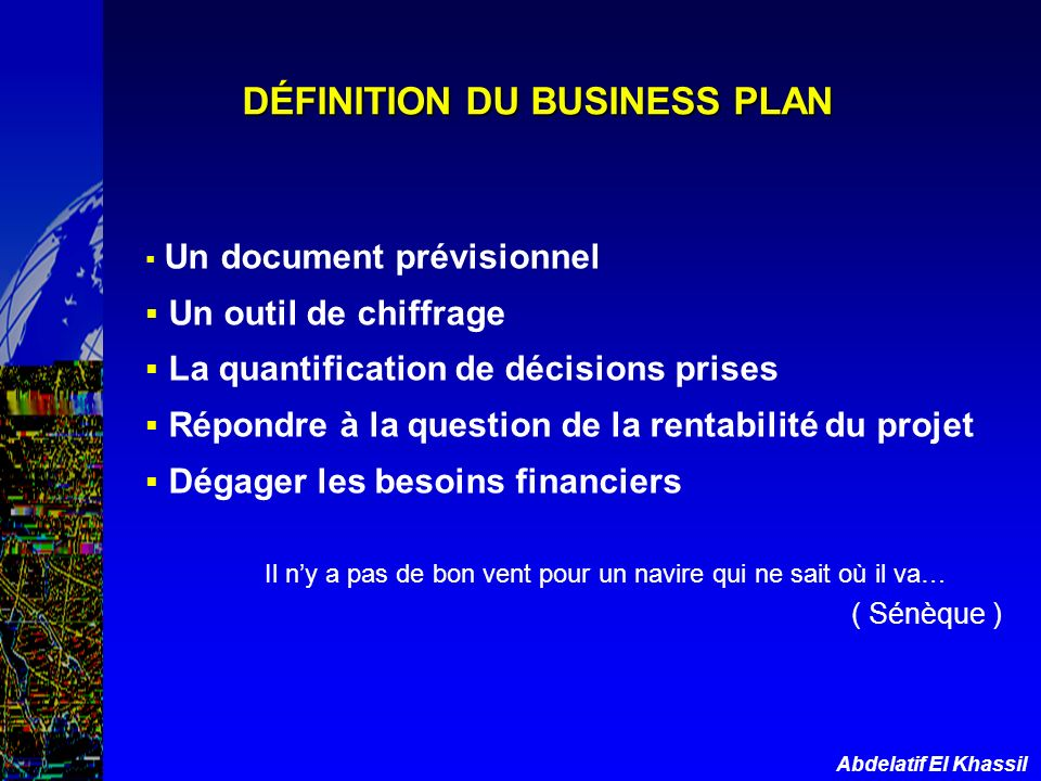 DÉFINITION DU BUSINESS PLAN