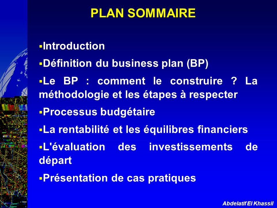 Définition du business plan (BP)