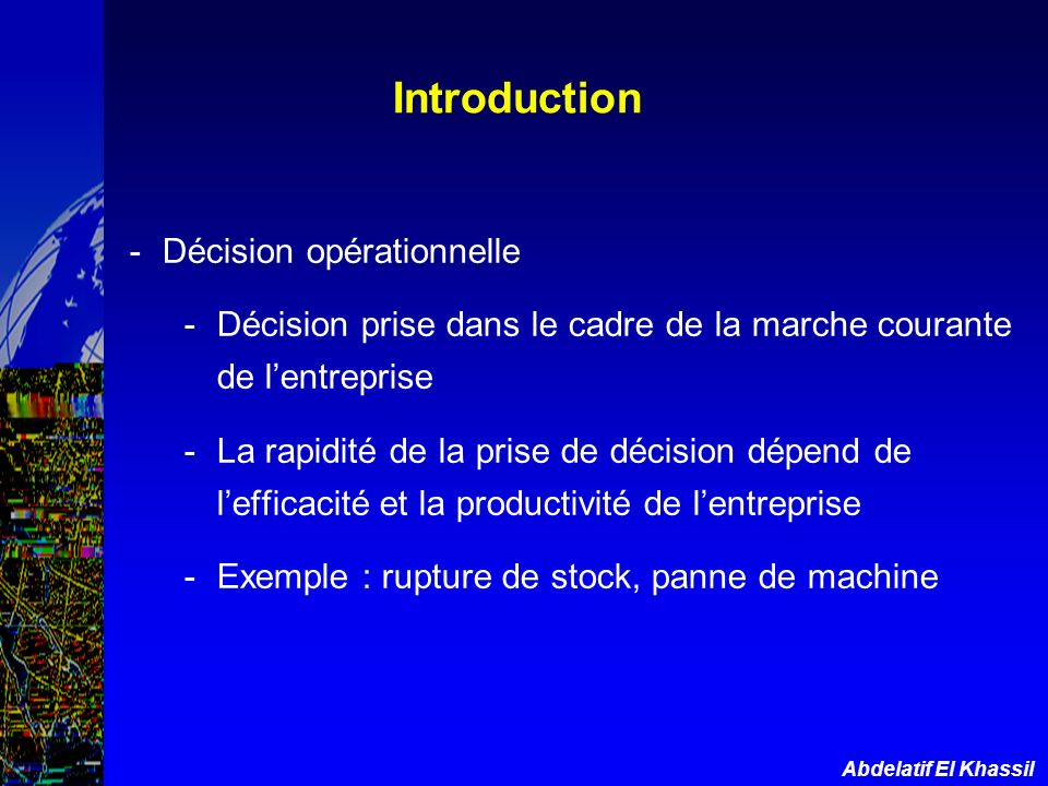 Introduction Décision opérationnelle