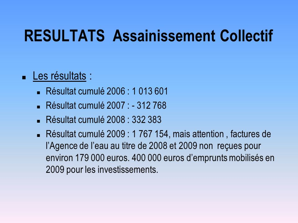 RESULTATS Assainissement Collectif