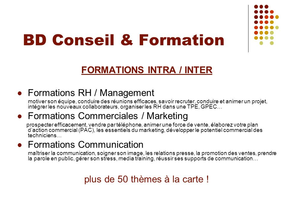 FORMATIONS INTRA / INTER