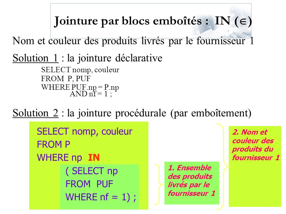 Jointure par blocs emboîtés : IN ()