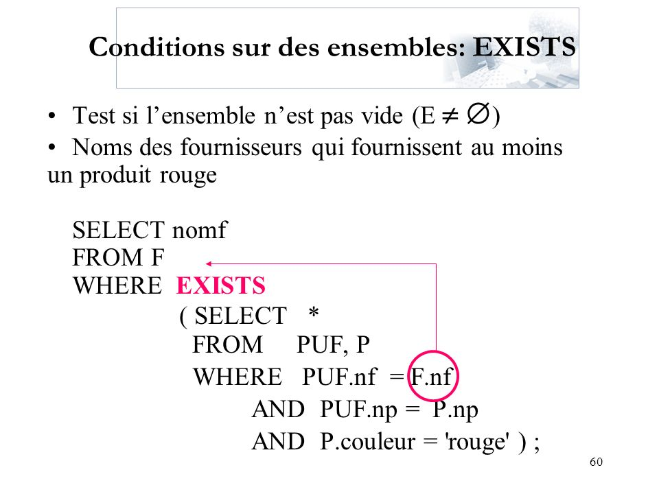 Conditions sur des ensembles: EXISTS