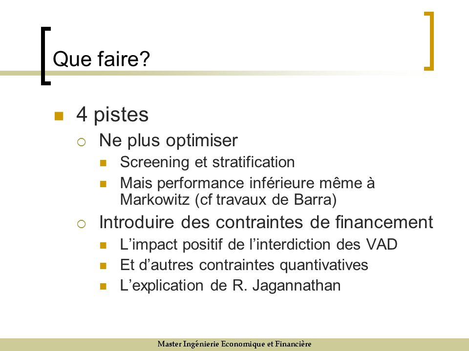 Que faire 4 pistes Ne plus optimiser