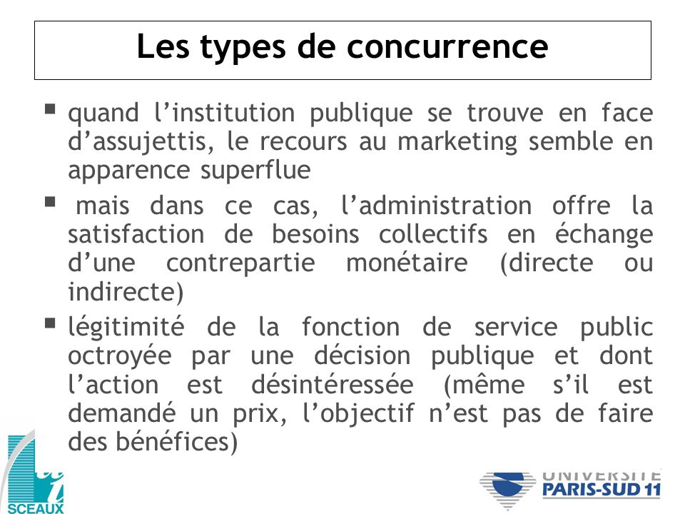 Les types de concurrence