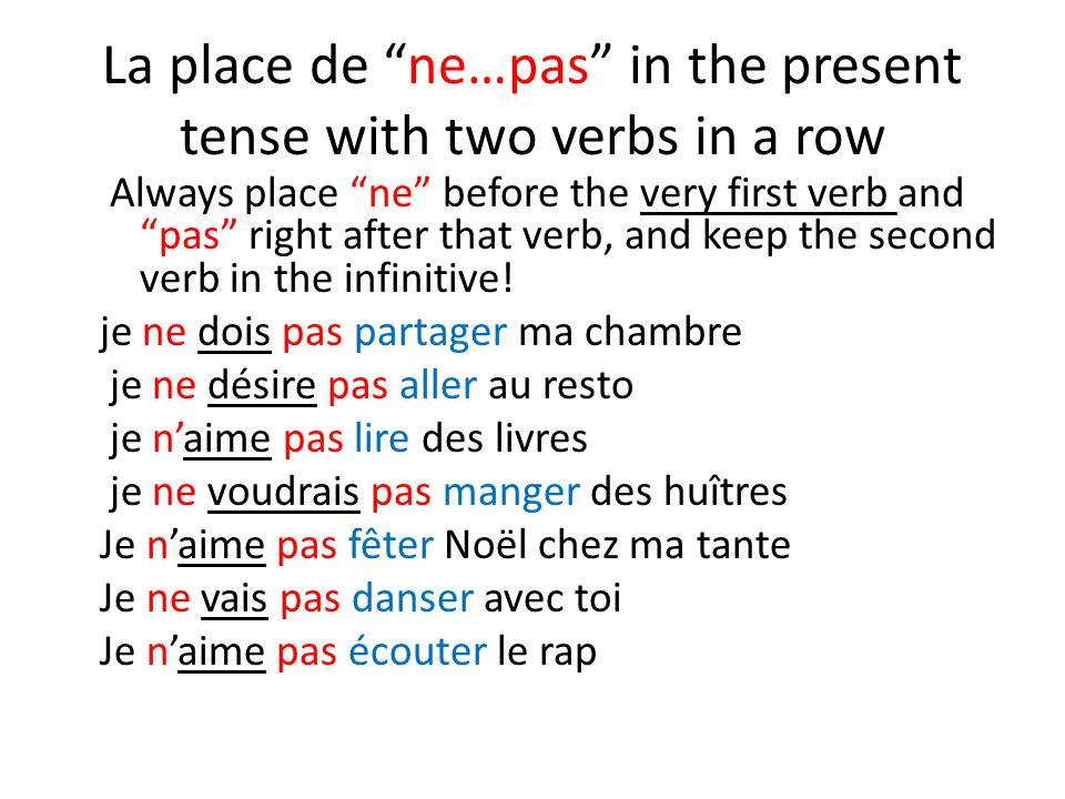 La place de ne…pas in the present tense with two verbs in a row