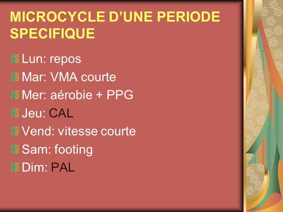 MICROCYCLE D'UNE PERIODE SPECIFIQUE