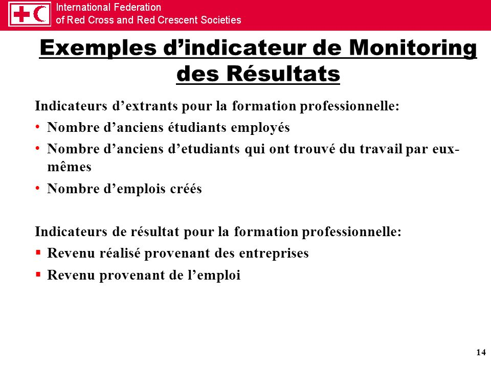 Exemples d'indicateur de Monitoring des Résultats