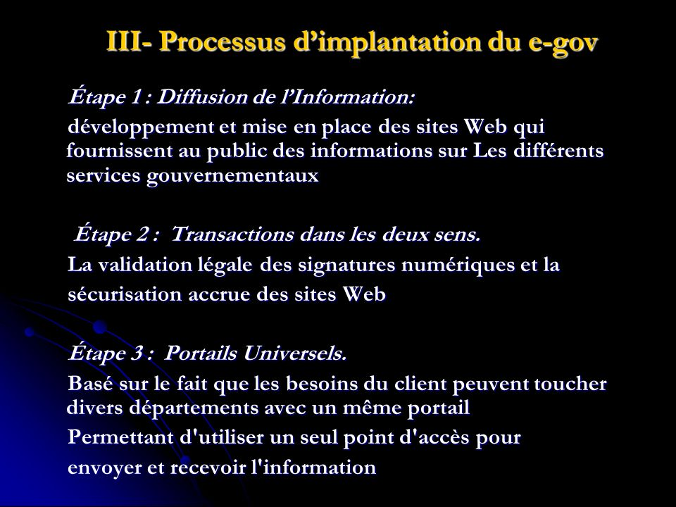 III- Processus d'implantation du e-gov