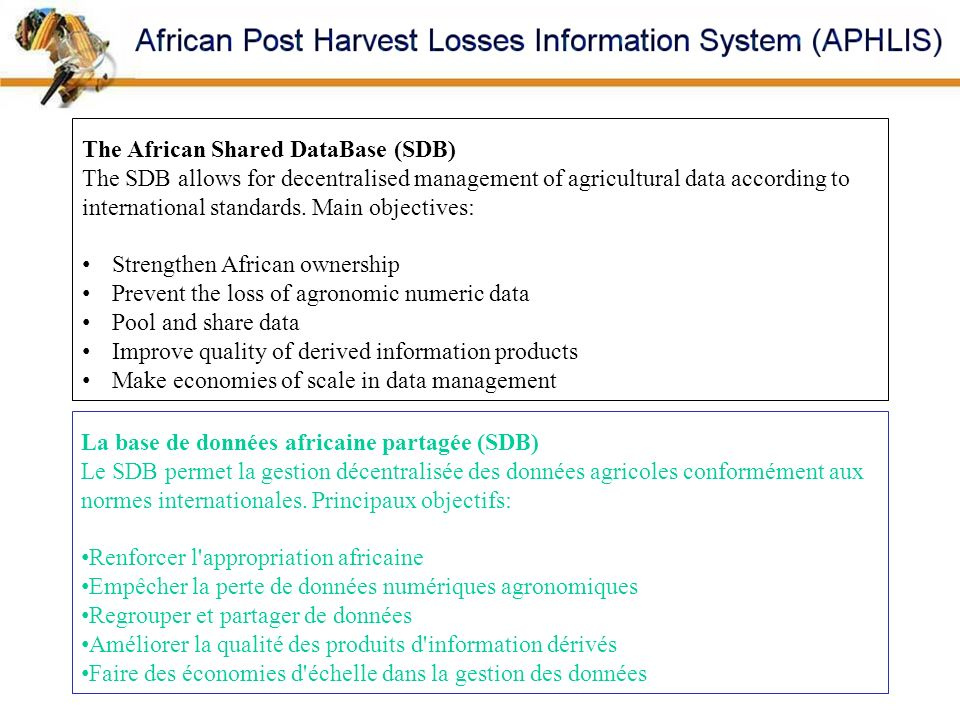 The African Shared DataBase (SDB)