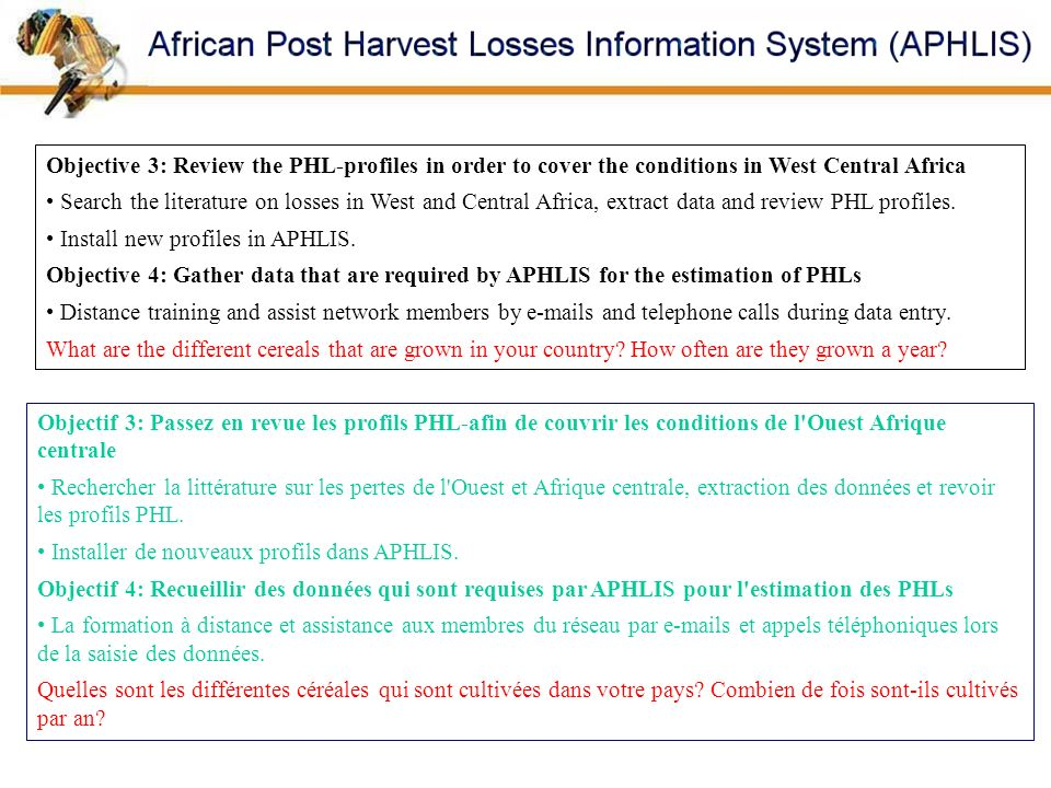 Objective 3: Review the PHL-profiles in order to cover the conditions in West Central Africa