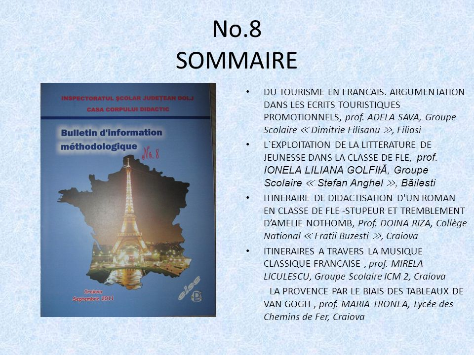 No.8 SOMMAIRE