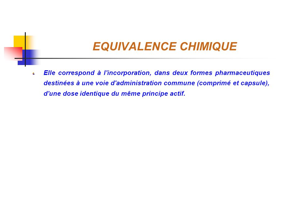 EQUIVALENCE CHIMIQUE