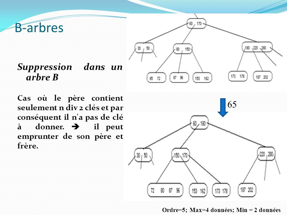 B-arbres Suppression dans un arbre B 65