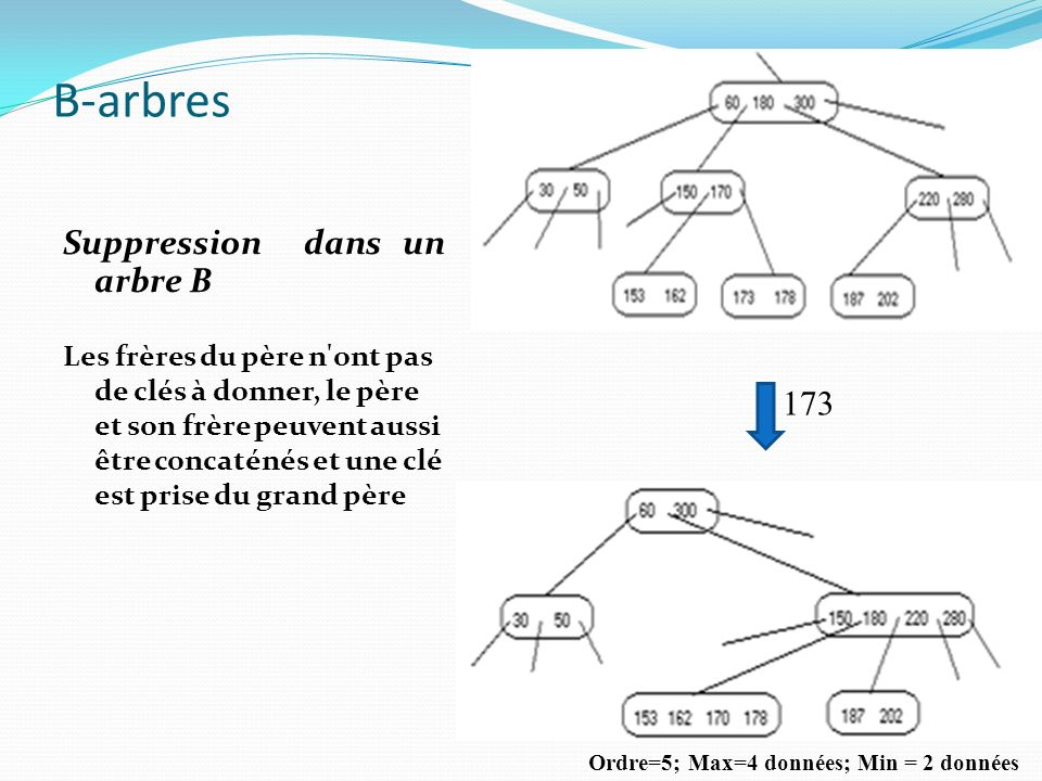 B-arbres Suppression dans un arbre B 173