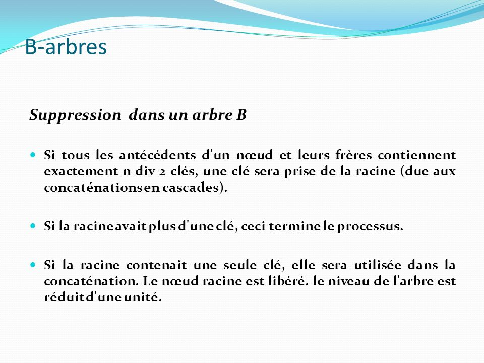 B-arbres Suppression dans un arbre B