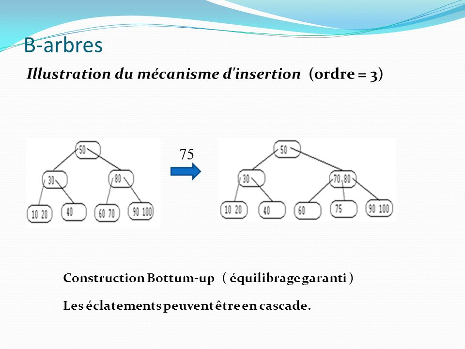 B-arbres Illustration du mécanisme d insertion (ordre = 3) 75