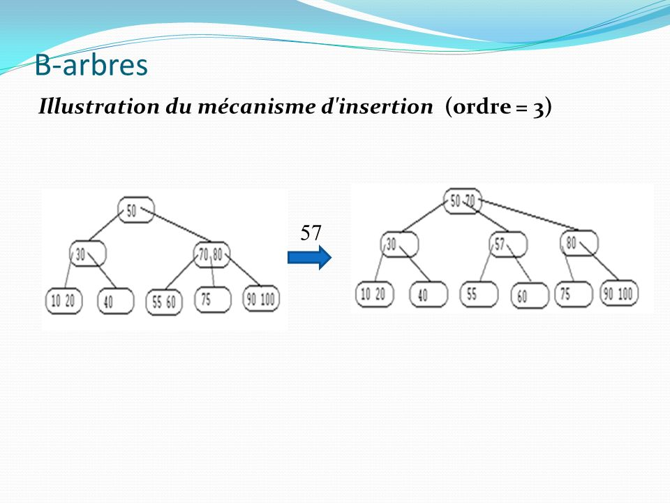 B-arbres Illustration du mécanisme d insertion (ordre = 3) 57
