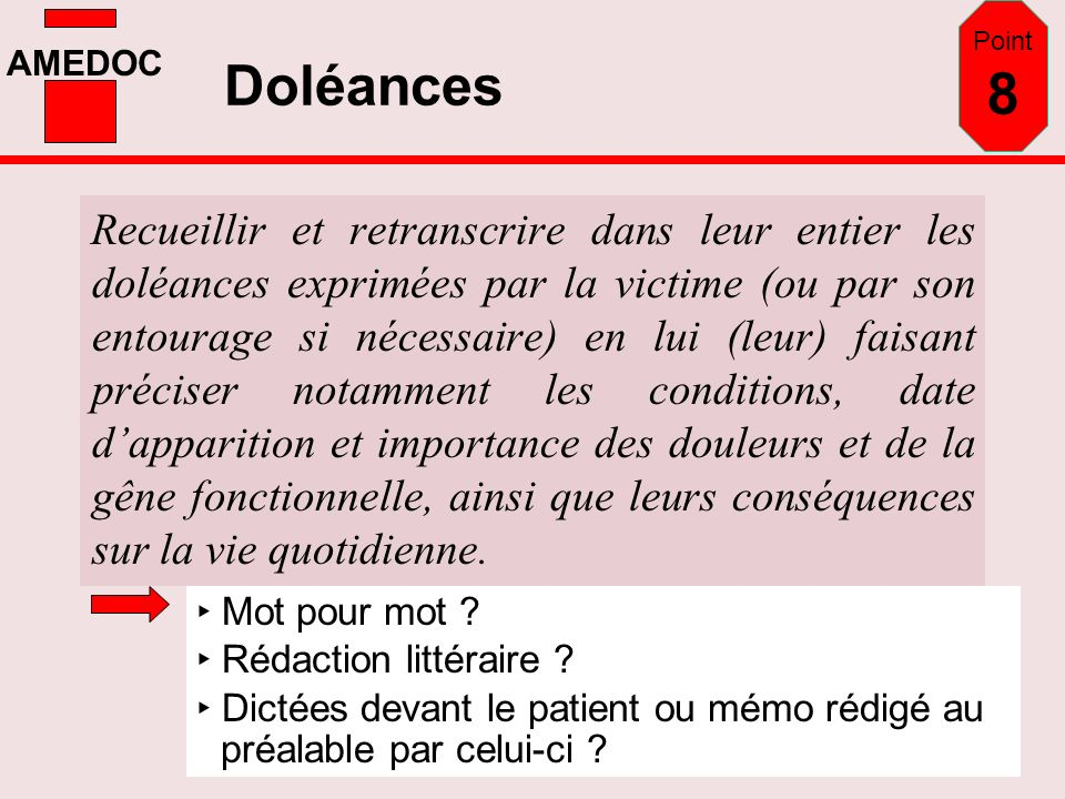 Point 8 Doléances.