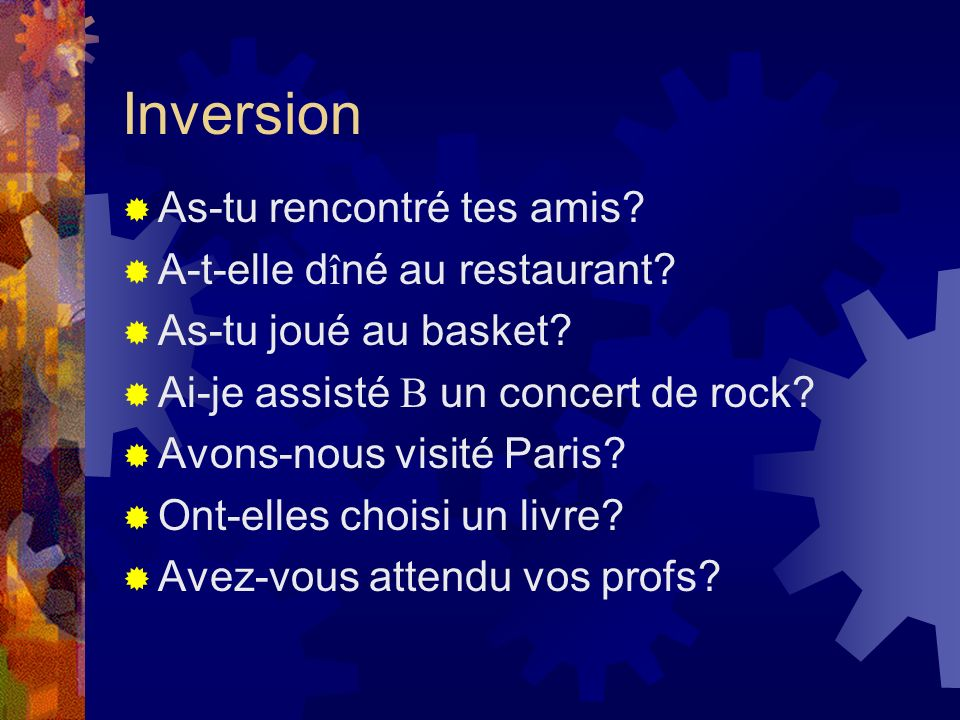 Inversion As-tu rencontré tes amis A-t-elle dîné au restaurant