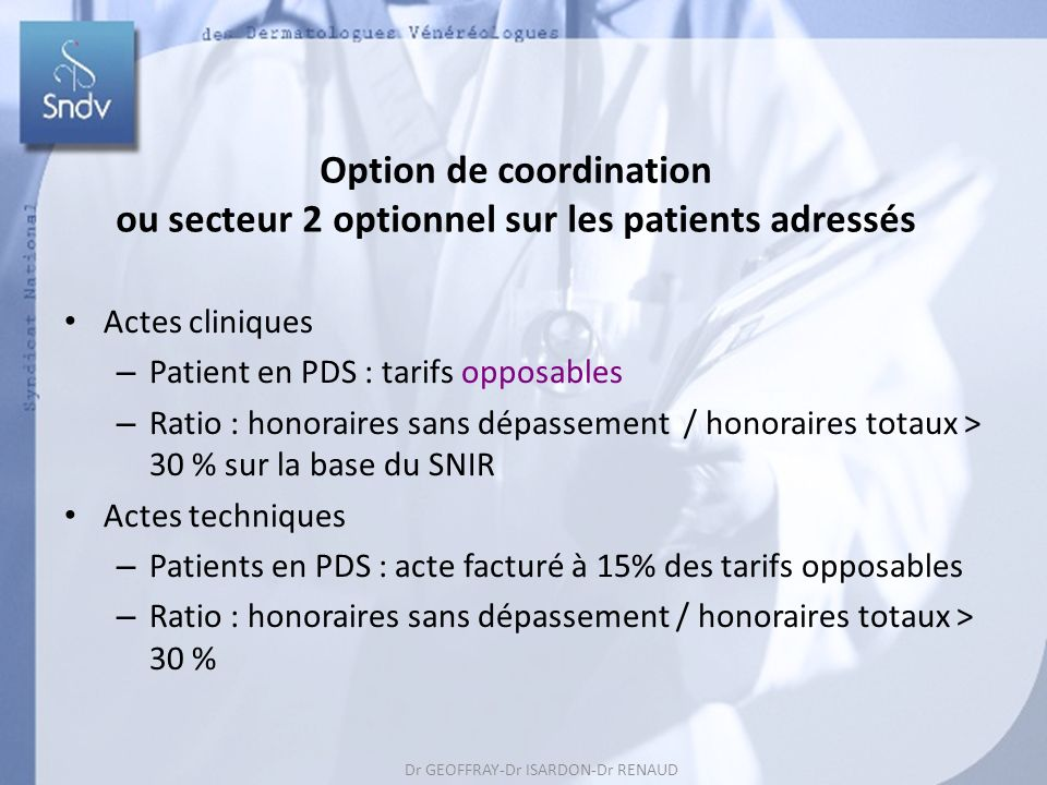 Option de coordination ou secteur 2 optionnel sur les patients adressés