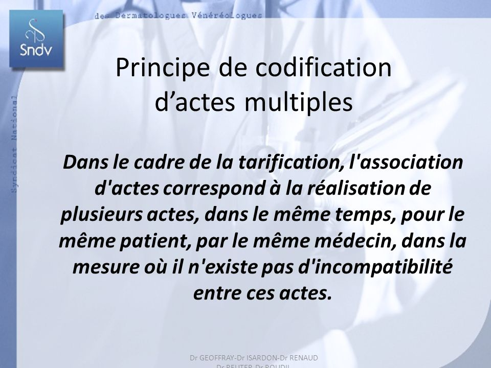 Principe de codification d'actes multiples