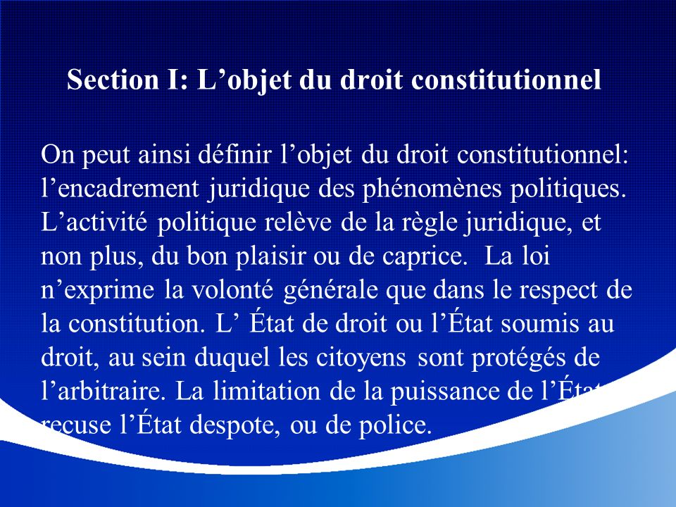 Section I: L'objet du droit constitutionnel