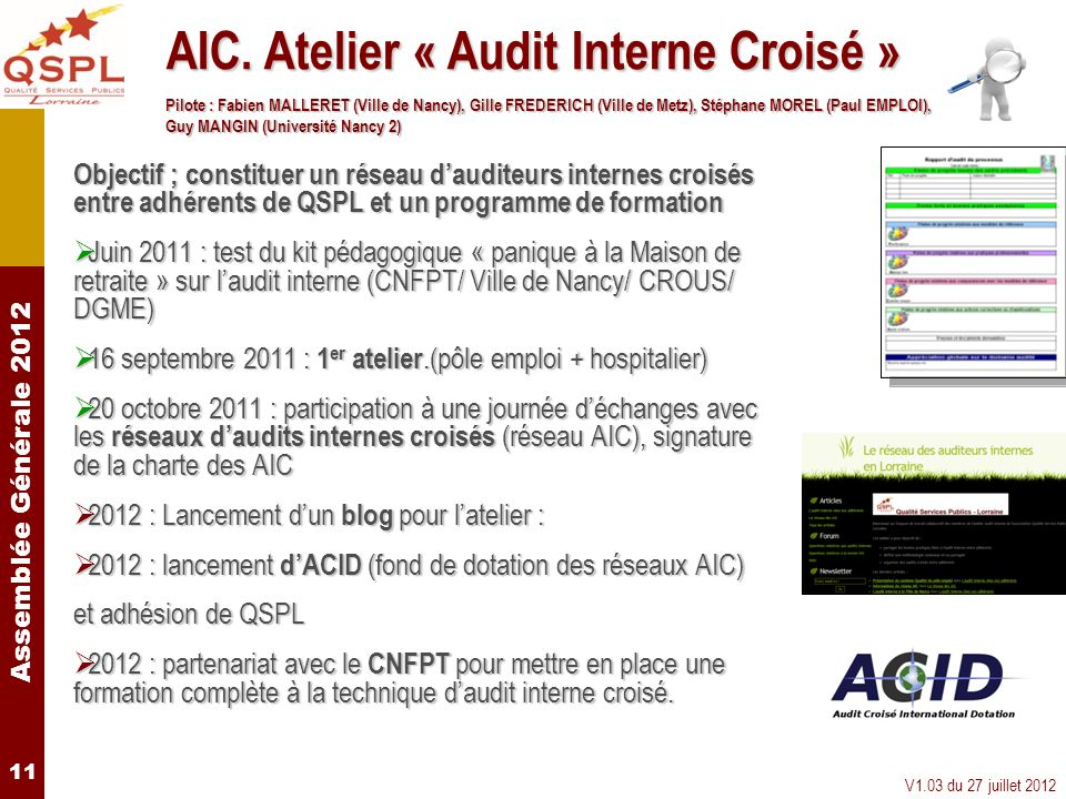 AIC. Atelier « Audit Interne Croisé »