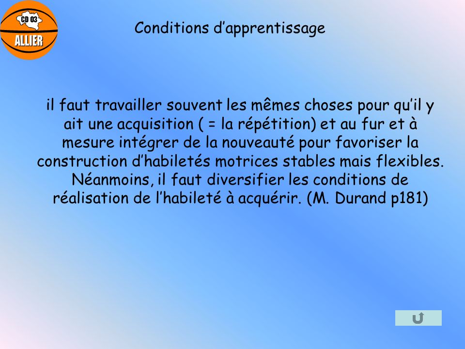 Conditions d'apprentissage