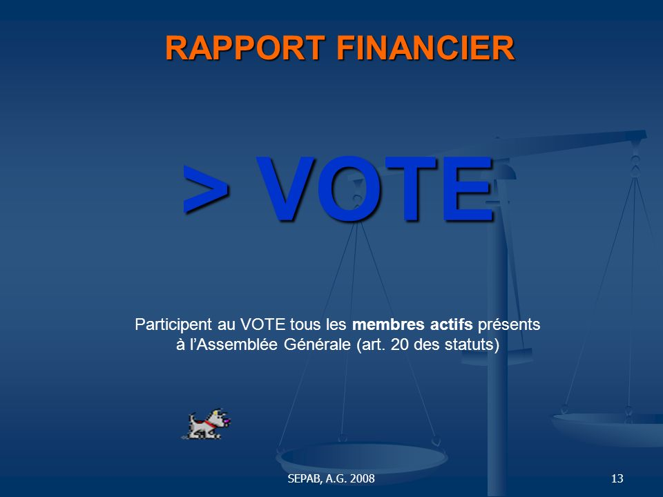 > VOTE RAPPORT FINANCIER