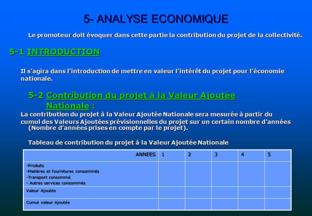 5- ANALYSE ECONOMIQUE 5-1 INTRODUCTION Nationale :