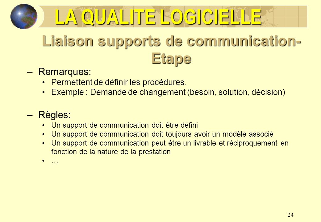 Liaison supports de communication-Etape