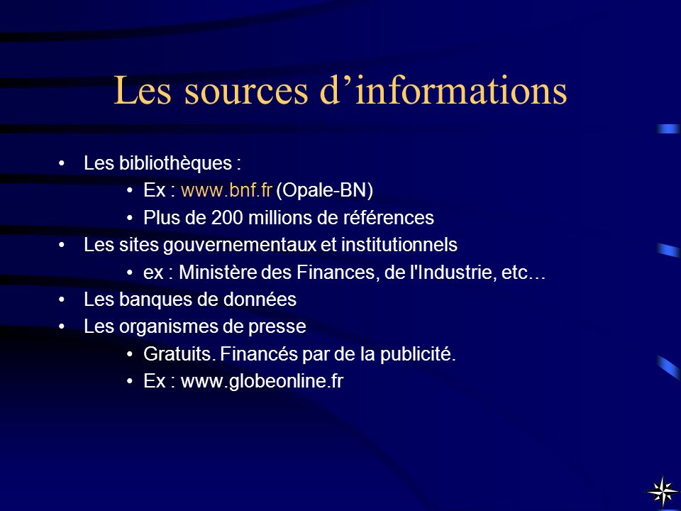 Les sources d'informations